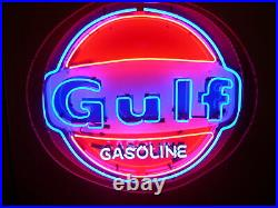 New Gulf Gasoline Station Neon Light Sign 24x24 Real Glass Bar Beer Man Cave