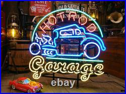 New Hot Rod Garage Car Neon Light Sign 24x20 Beer Lamp Decor Man Cave Glass