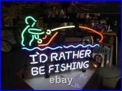 New I'd Rather Be Fishing Beer Bar Neon Light Sign 24x20