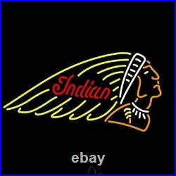 New Indian Motorcycles Beer Bar Neon Sign 20x16 Real Glass Decor
