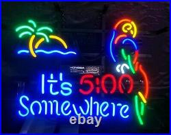New It's 5 00 Somewhere Parrot Neon Light Sign 17x13 Wall Decor Palm Tree Beer