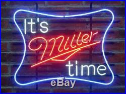 New It's Miller Time Beer Man Cave Neon Light Sign 17x14