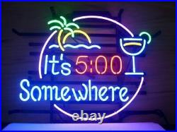 New Its 500 Somewhere Palm Tree Neon Sign Beer Bar Pub Gift Light 20x16