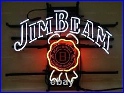 New Jim Beam Whiskey Neon Light Sign 20x16 Beer Cave Gift Bar Real Glass