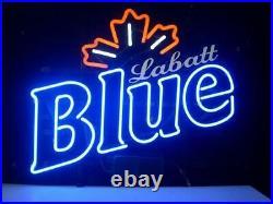 New Labatt Blue Maple Neon Light Sign 17x14 Beer Gift Bar Real Glass Artwork