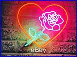 New Love Rose Heart Flower Neon Light Sign Lamp Beer Pub Acrylic 17 Artwork Bar