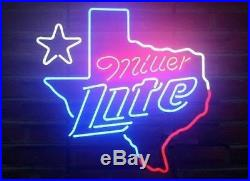 New MILLER LITE TEXAS Star Beer Neon Light Sign 19x15