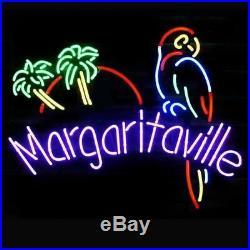 New Margaritaville Parrot Bird Palm Trees Neon Light Sign 20x16 Beer Bar