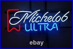 New Michelob Ultra Beer Bar Neon Sign 17x14 Real Glass Decor Windows Artwork
