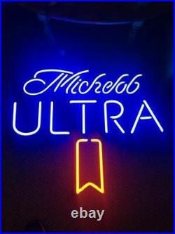 New Michelob Ultra Beer Neon Light Sign 16x1 Lamp Display Glass Decor Windows