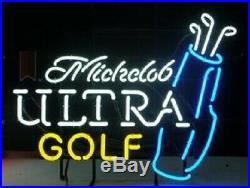 New Michelob Ultra Golf Neon Light Sign 20x16 Beer Bar Man Cave Artwork Glass