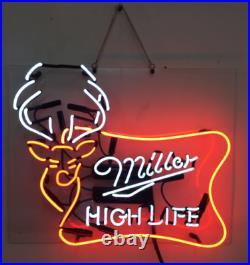 New Miller High Life Deer Beer Neon Light Sign Lamp 19x15 Acrylic