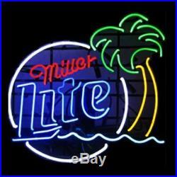 New Miller Lite Palm Tree Beer Bar Man Cave Neon Light Sign 17x14