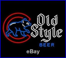 New Old Style Beer Chicago Cubs Baseball Man Cave Neon Light Sign 20x16