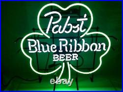 New Pabst Blue Ribbon Clover Beer Man Cave Neon Light Sign 20x16 Real Glass