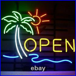 New Palm Tree Sun Open Neon Light Sign 17x14 Beer Cave Bar Real Glass