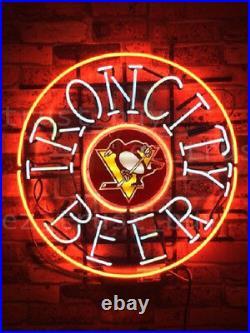 New Pittsburgh Penguins Iron City Beer Bar Decor Neon Light Sign 24x24