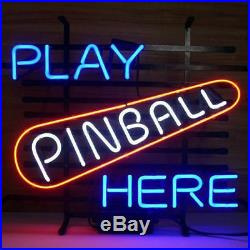 New Play Pinball Here Bar Beer Neon Sign 20x16