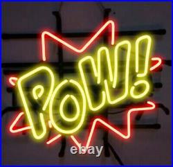 New Pow! Beer Neon Sign 20x16 Real Glass Lamp Artwork Lighting Bar Decor