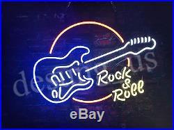 New Rock Roll Guitar Live Music Bar Beer Neon Sign 24x20