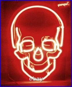 New Skull Light Lamp Beer Neon Sign 17x14