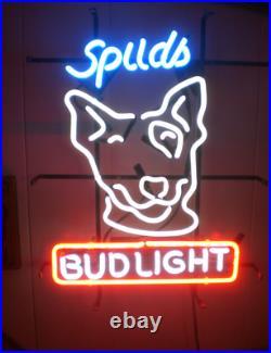 New Spuds MacKenzie Bud-Light Beer Bar Neon Sign 17x14 Real Glass Decor