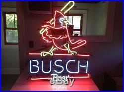 New St Louis Cardinals Busch Beer REAL GLASS NEON SIGN BAR PUB LIGHT Free Ship