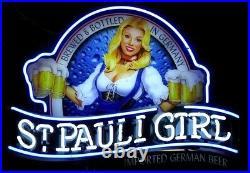 New St Pauli Girl Shop Open Beer Bar Neon Light Sign 24x20