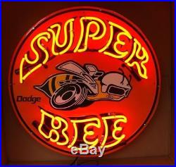 New Super Bee Auto Car Beer Real Glass Neon Sign 24x20