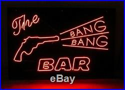 New The Bang Bang Bar Gun Neon Light Sign 20x16 Beer Gift Bar Real Glass