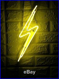 New Thunder Bolt Lightning Neon Light Sign 20 Lamp Beer Bar Acrylic Real Glass