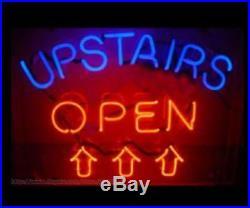 New Upstairs Open Arrow Beer Bar Light Lamp Neon Sign 24x20