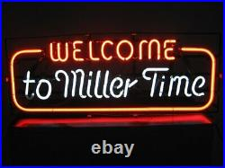 New Welcome To Miller Time Miller Lite Neon Light Sign 20x16 Glass Beer Bar