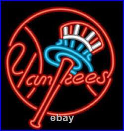 New York Yankees Red Neon Light Sign 17x14 Lamp Beer Bar Pub Glass