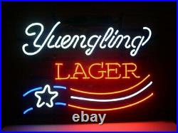 New Yuengling Lager US Flag Neon Light Sign 17x14 Real Glass Lamp Beer Bar