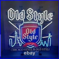 Old style beer Chicago skyline neon light up bar sign man cave game room mib