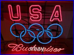 Original Vintage USA Olympic Budweiser Neon Light Beer Sign Bud Anheuser-Busch