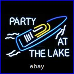 Party At The Lake Boat Neon Sign 20x16 Light Lamp Beer Bar Wall Decor Glass
