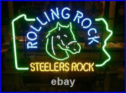 Pittsburgh Steelers Rolling Rock Neon Lamp Sign 20x16 Bar Light Beer Display