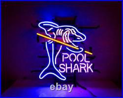 Pool Shark Billiards Neon Light Sign Lamp 17x14 Beer Bar Glass Artwork Decor