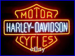 RARE New Harley Davidson HD Motorcycle Bike Real Glass Neon Sign Beer Bar Light