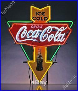 Rare COLA-COCA ICE COLD DRINK Garage Shop Retro REAL NEON SIGN BEER BAR LIGHT