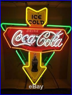 Rare New Ice Cold Drink Coca Cola Beer Bar Shop Open Neon Sign 19x15