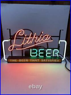 Rare Vintage West Bend Lithia Beer Neon Window Sign The Beer That Satisfies