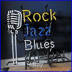 Rock Jazz Blues Open Microphone Neon Sign Light KTV Beer Bar Pub Decor17x14