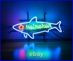 Shark Beer Sign Vintage Bar Pub Wall Neon Light Real Glass Hand Bend