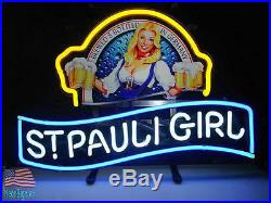 St Pauli Girl Beck's Bremen Beer Lager Neon Sign 17x14 From USA
