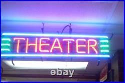 THEATER Cinema Beer Neon Light Sign 32x13 Glass Artwork Wall Decor Open Bar