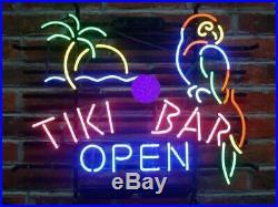 Tiki Bar Open Parrot Palm Tree Neon Light Sign 20x16 Beer Bar Man Cave Artwork