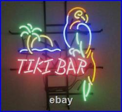 Tiki Bar Parrot Palm Tree Neon Light Sign Lamp 17x14 Beer Artwork Glass